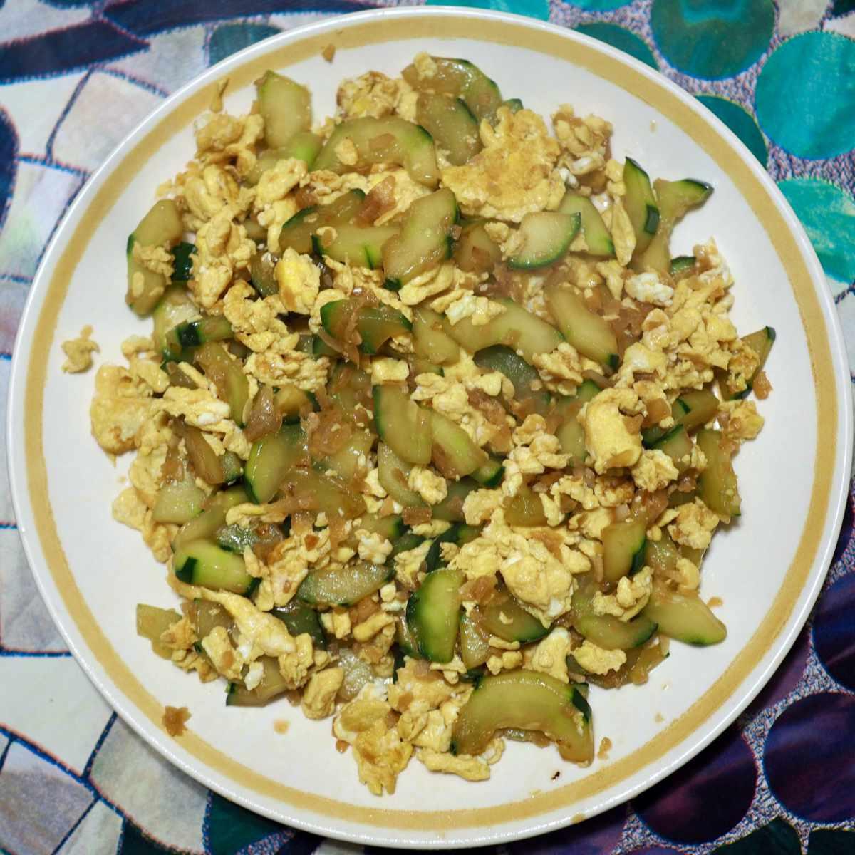 Cucumber egg stir fry
