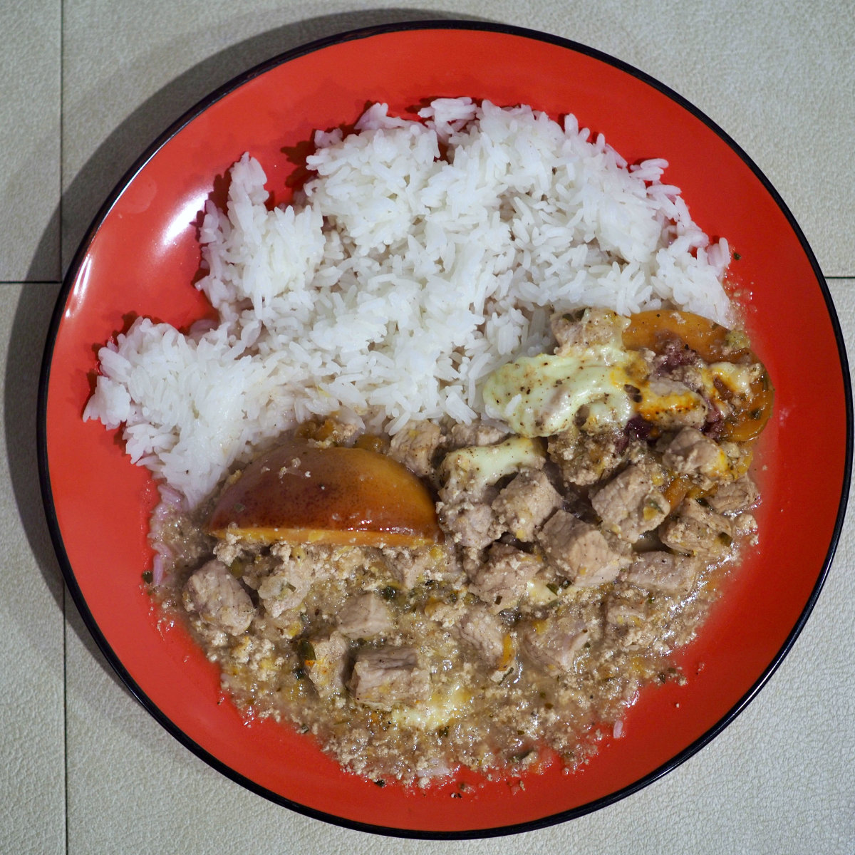 Pork with cheese and peaches